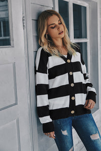 Oversized Black and White Cardigan