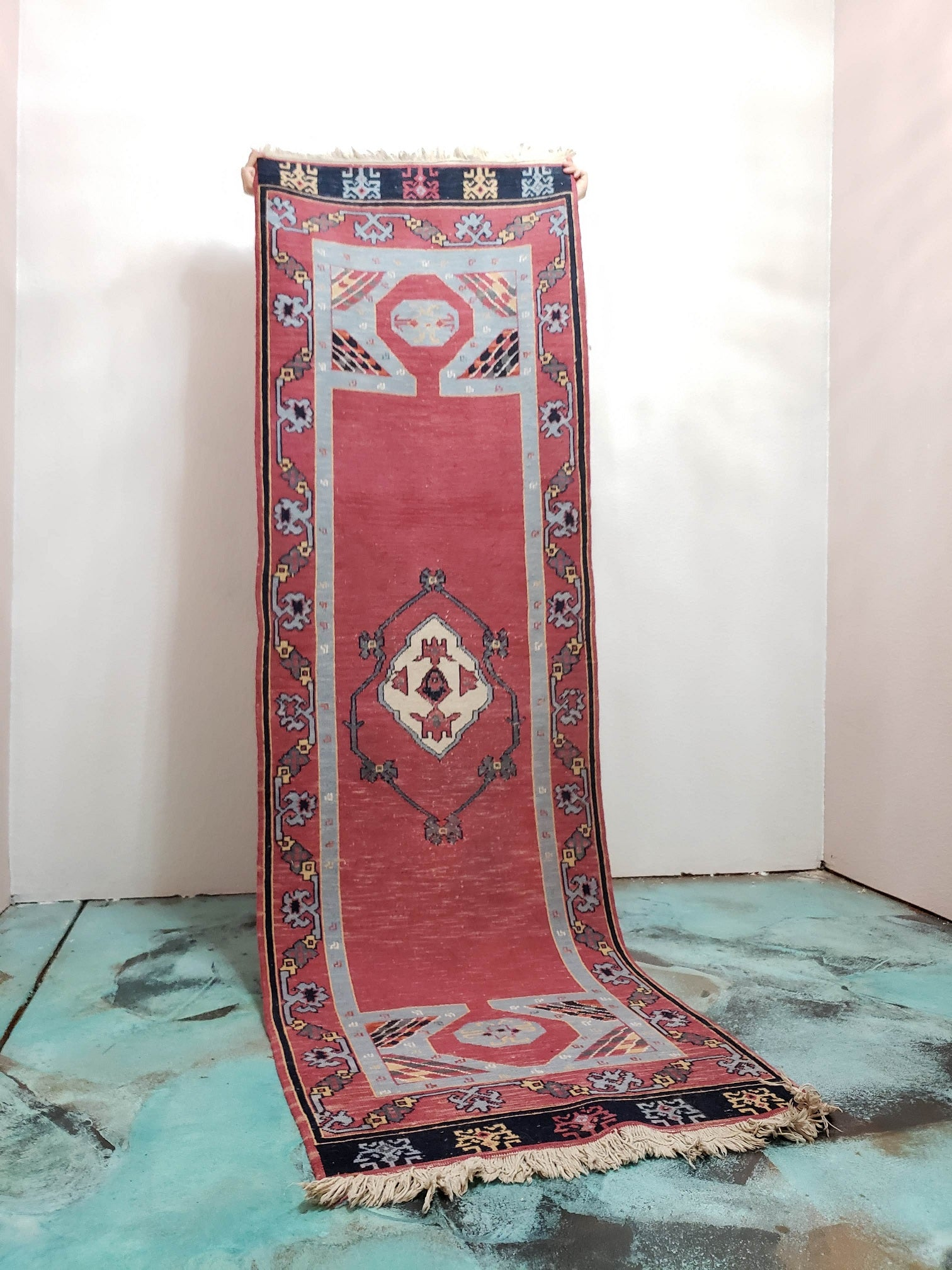 Vintage Turkish Pink and Blue Runner