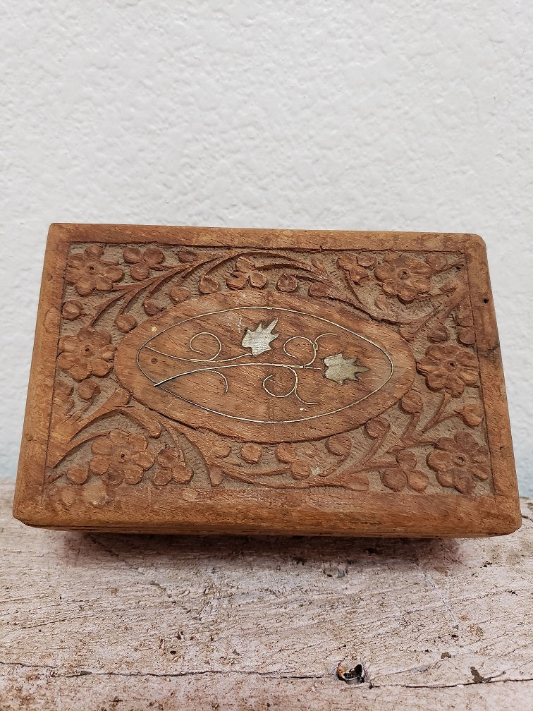 Vintage Handcarved Wooden Jewelry Box with Brass Inlay