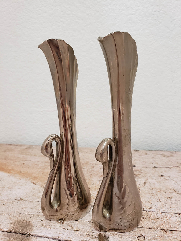 Pair of Silver Plated Swan Bud Vases