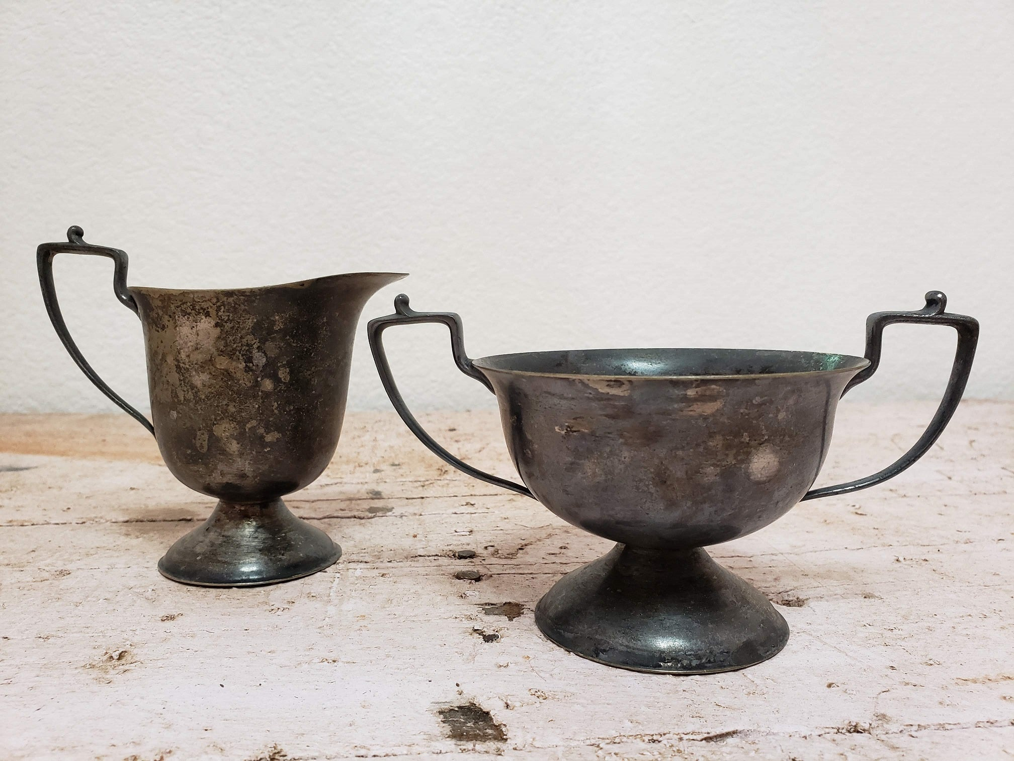 WM Mounts Nickel Silver Creamer and Sugar Bowl