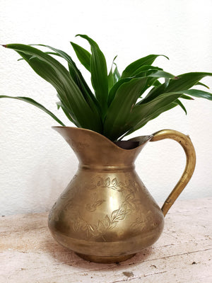 Indian Brass Etched Pitcher