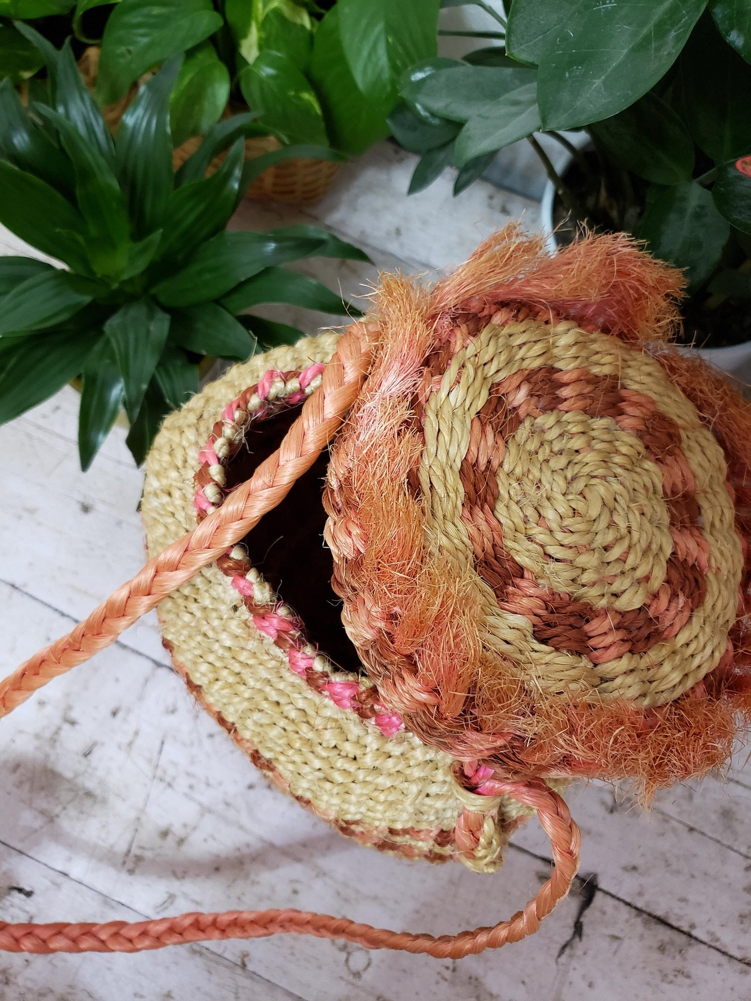 Pink Jute Lidded Basket with Lid
