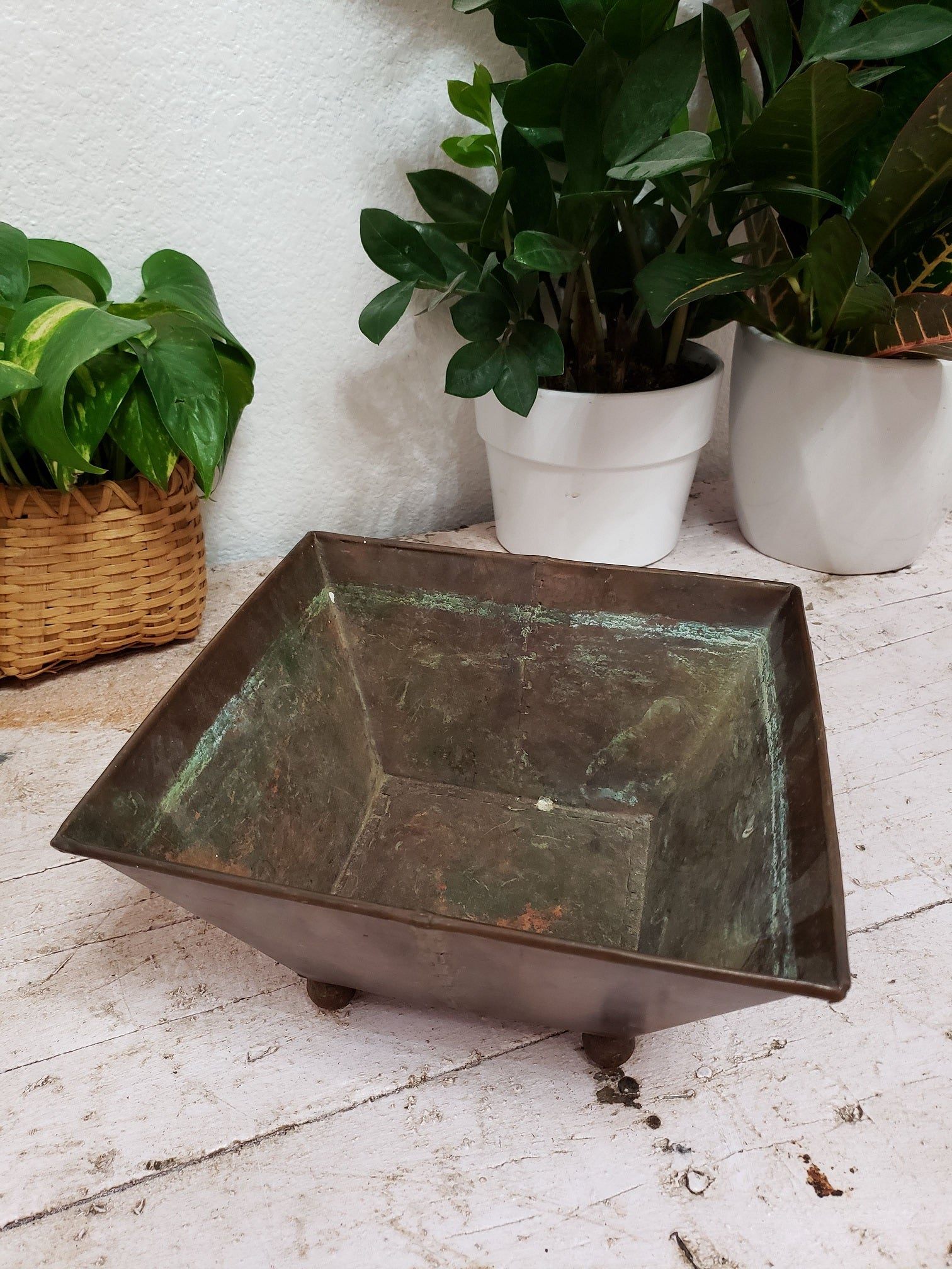 Antique Copper Footed Planter