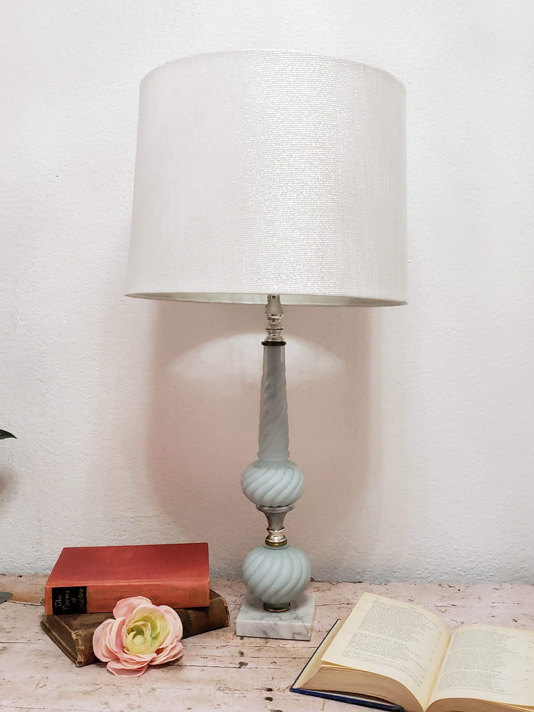 Vintage Blue and Frosted Glass Table Lamp