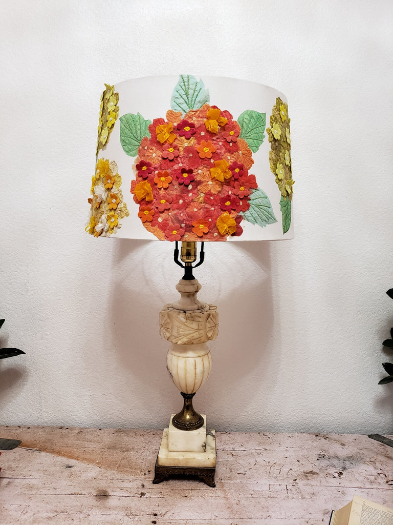 Marble and Brass Italian Regency Table Lamp