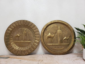 Vintage Moroccan Camel Hammered Brass Wall Plates