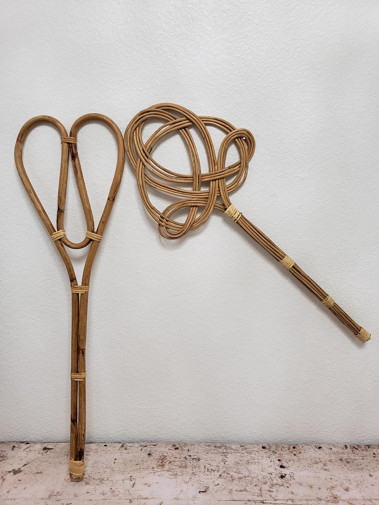 Mixed Pair of Rattan Rug Beaters
