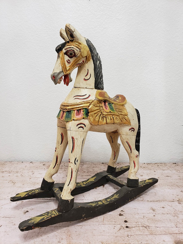 Antique Hand Carved Small Rocking Horse