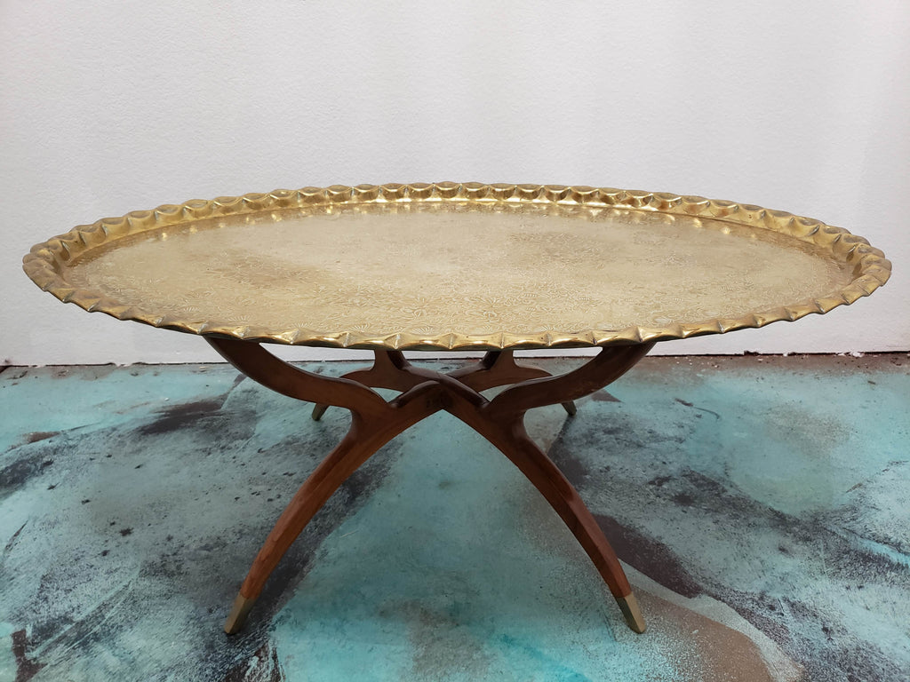 Moroccan Mid Century Oval Brass Tray Table with Spider Leg Base