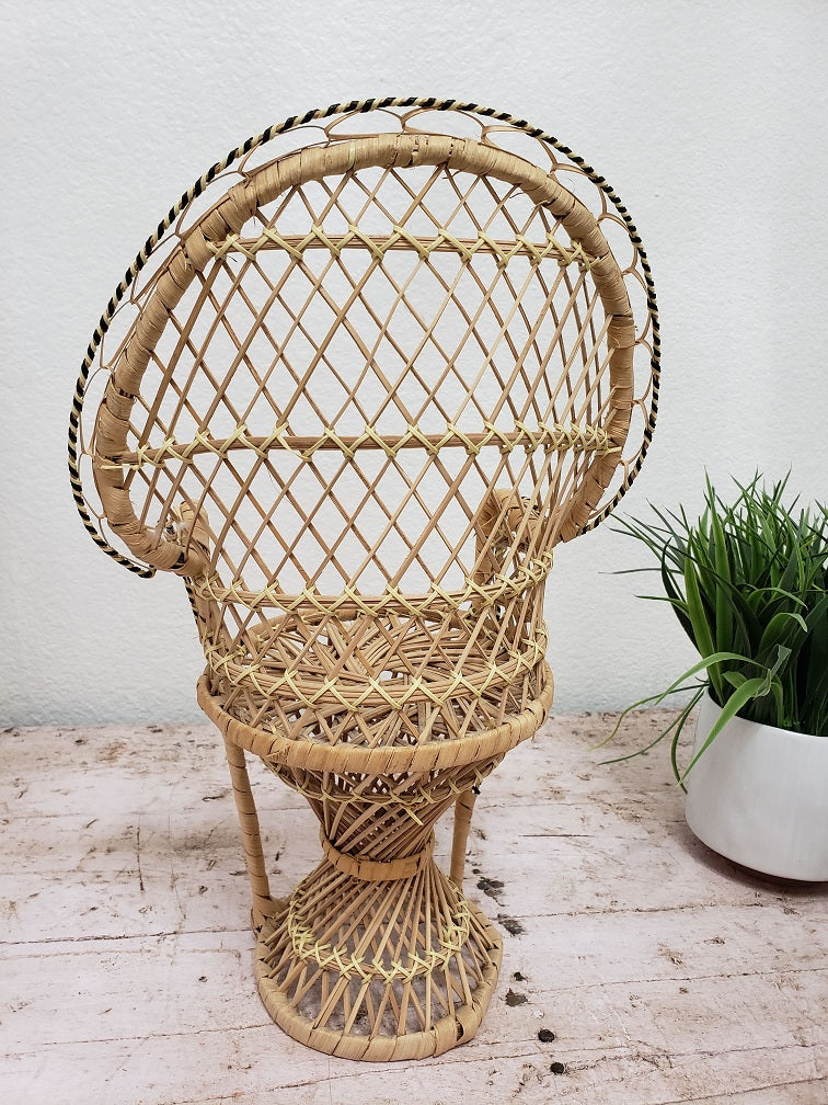 Vintage Doll Size Rattan Peacock Chair