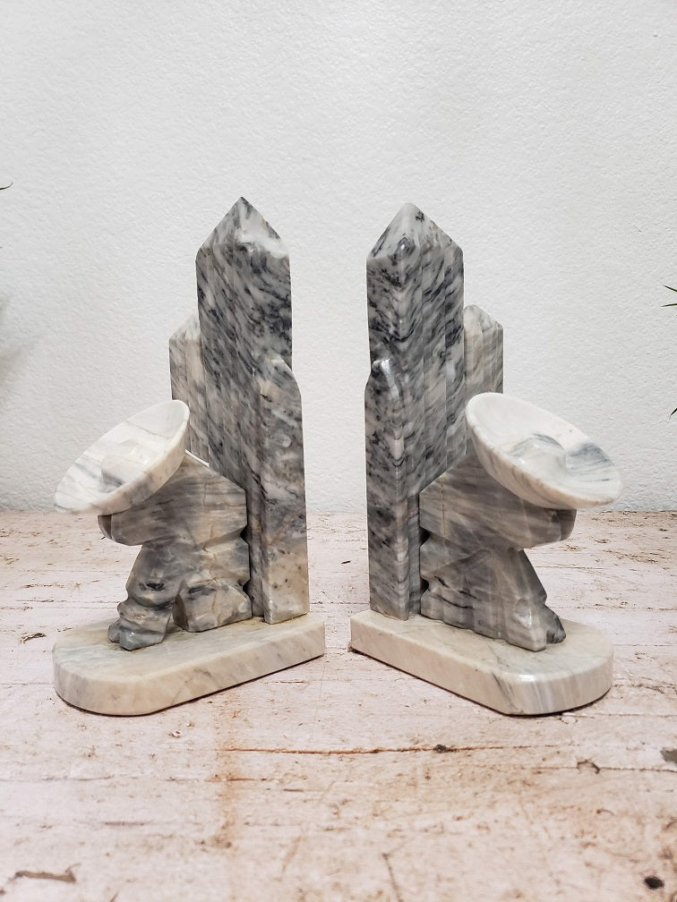 Vintage Marble Saguaro Cactus Bookends
