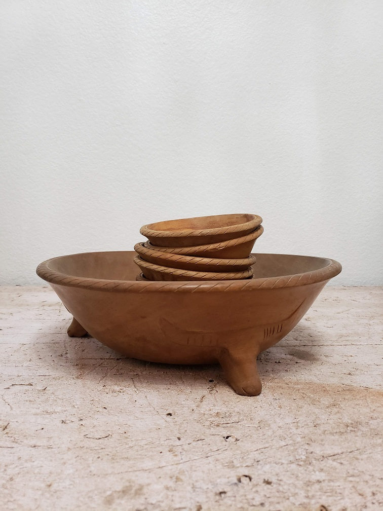 Vintage mid century bull footed serving bowl with salad bowl set