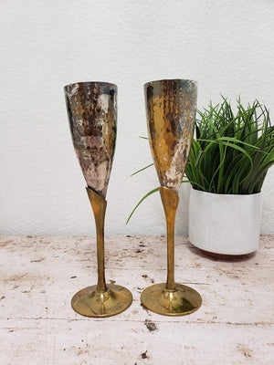 Vintage Hammered Brass and Silver Champagne Flutes