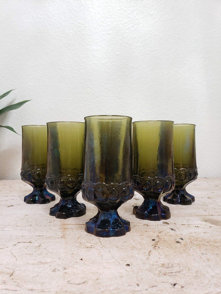 Set of 6 Tiffin Franciscan Green Iridescent Madeira Goblets