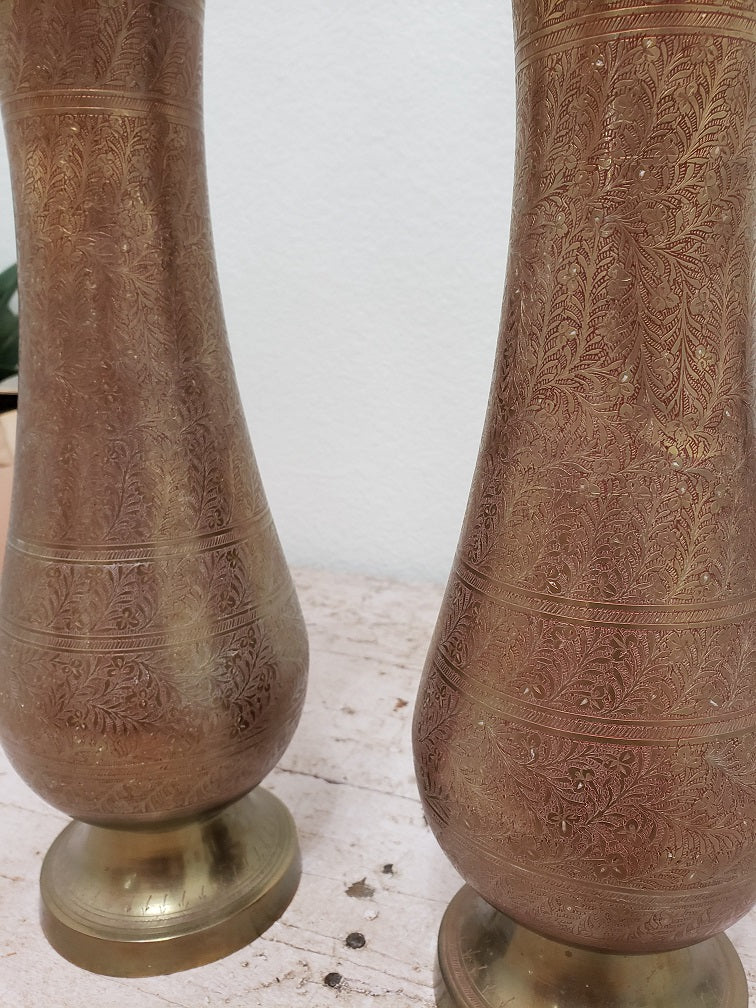 Large Brass Vase with Pink Etched Detailing