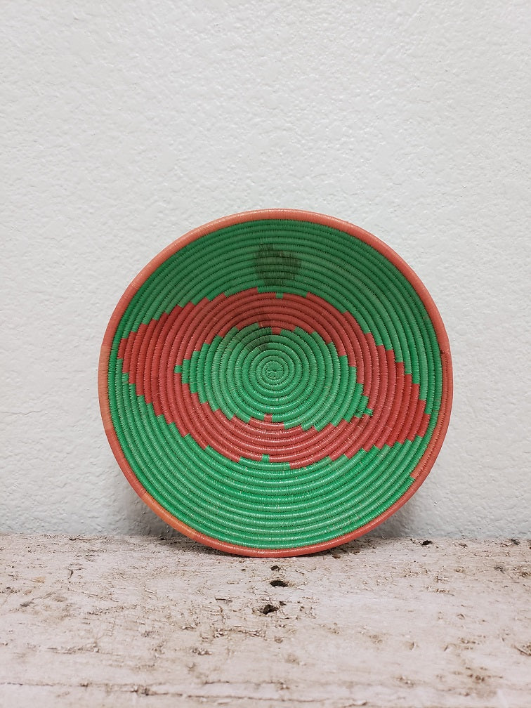 Coral and Green African Basket