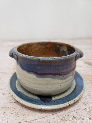 Cute Double Handled Pottery Bowl and Saucer Plate
