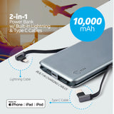 10,000 mAh Ultra-Slim Power Bank with Lightning® & Type C Cables