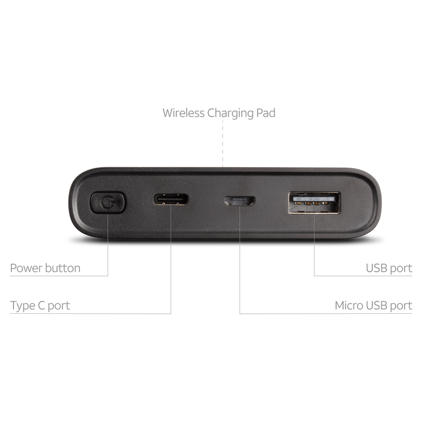 10000mAh Power Bank with Qi-Charging Technology