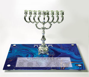 Chanukah Tray: Blue/Gold