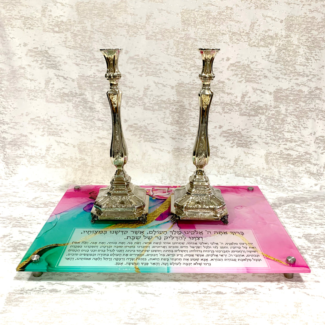Candlestick Tray: Pink & Green