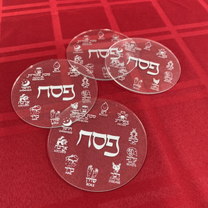 Acrylic SILVER Pesach Coasters
