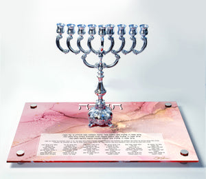 Chanukah Tray: Pink/Gold
