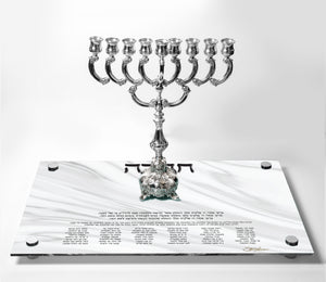 Chanukah Tray: White Marble