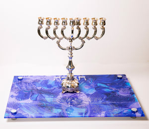 Chanukah Tray: Purple/Blue