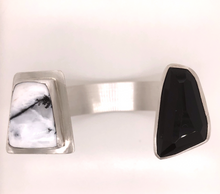 Load image into Gallery viewer, Snowy Agate and Obsidian Cuff