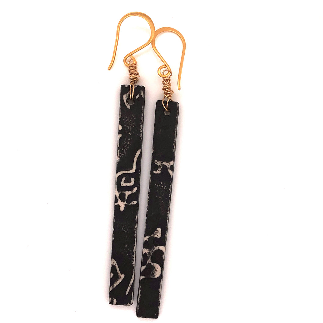James Garnett Porcelain Black Long Earrings