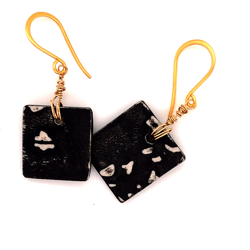 James Garnett Porcelain Small Square Earrings