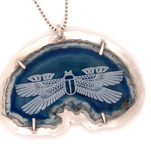 Load image into Gallery viewer, Blue Agate Scarab Necklace