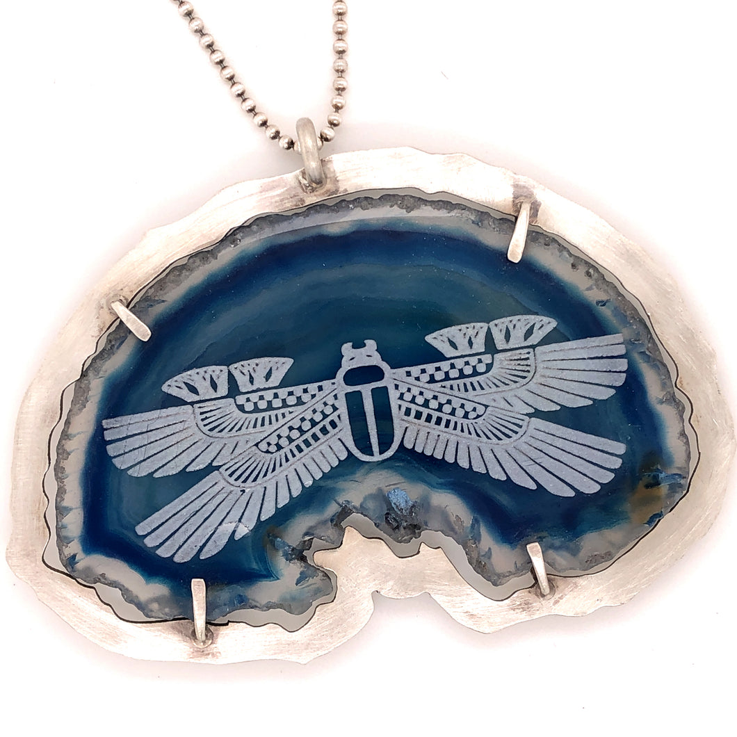 Blue Agate Scarab Necklace