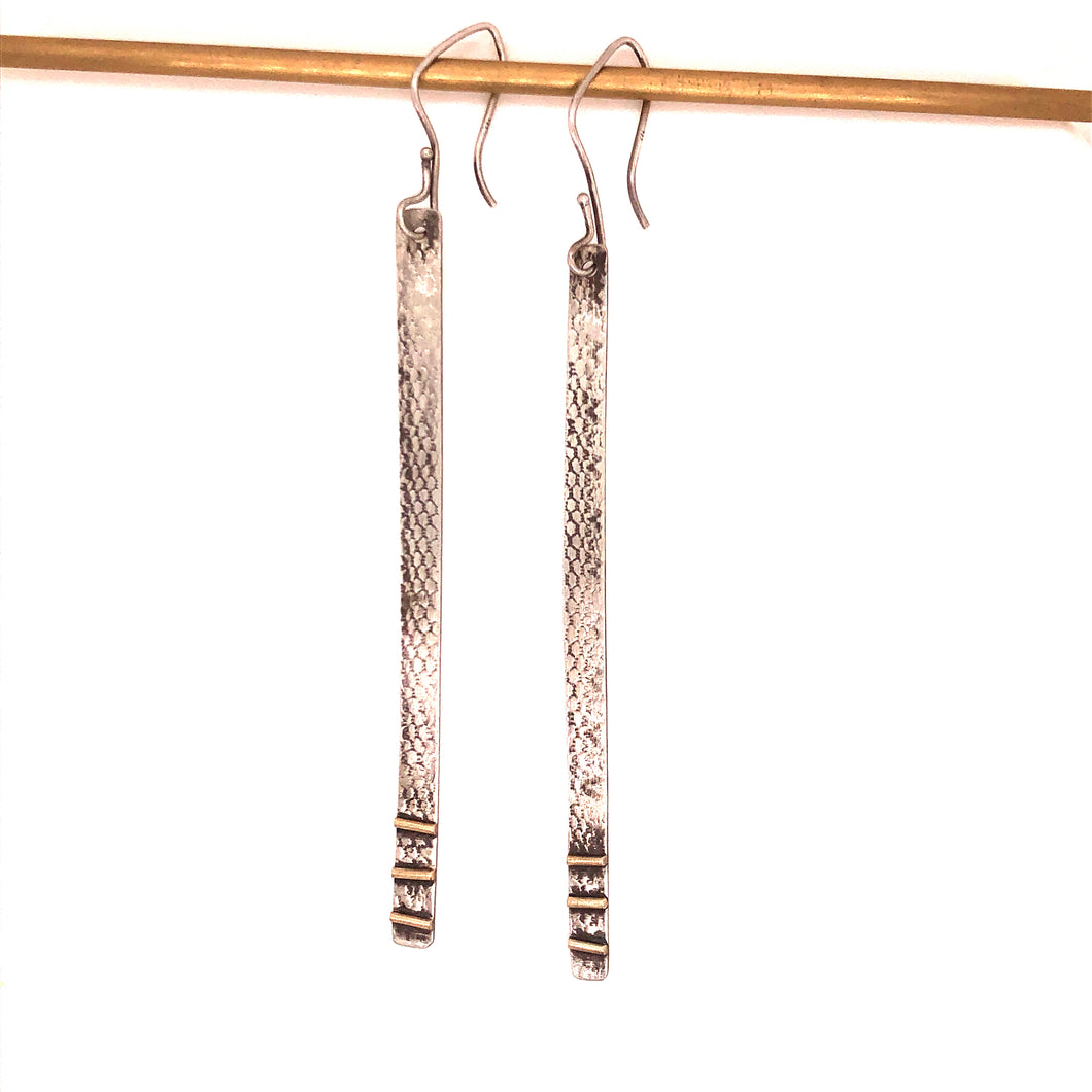 Snakeskin Print Long Bar Earrings