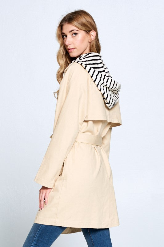 Detachable Hood Trench Coat