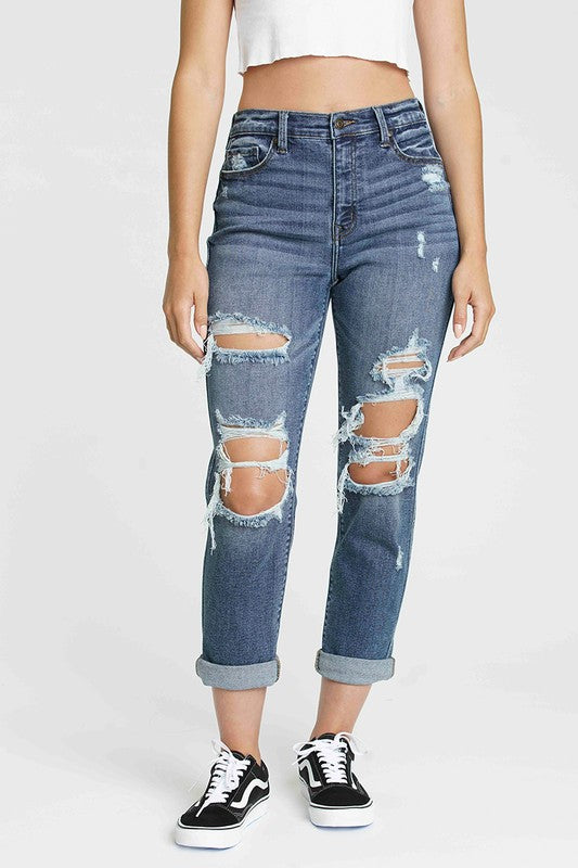High Rise Girlfriend Jeans
