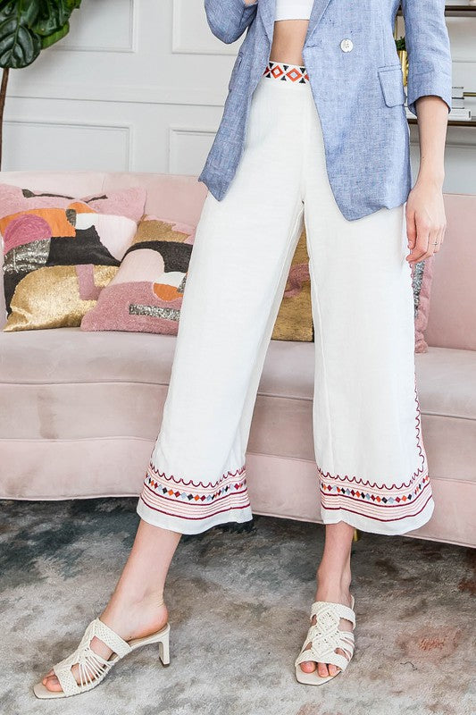 Embroidered Bell Pants