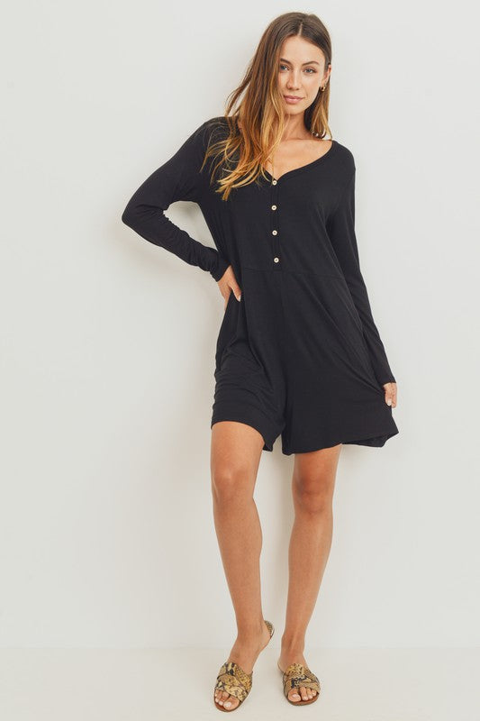 Cozy Button Front Romper