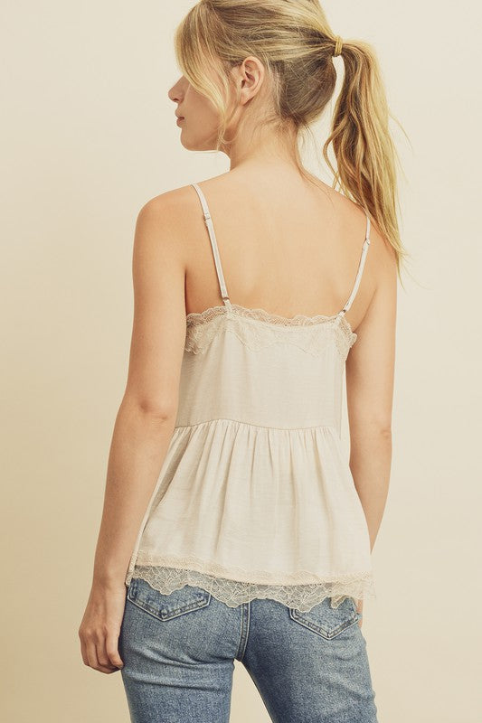 Lace Shirred Cami Top