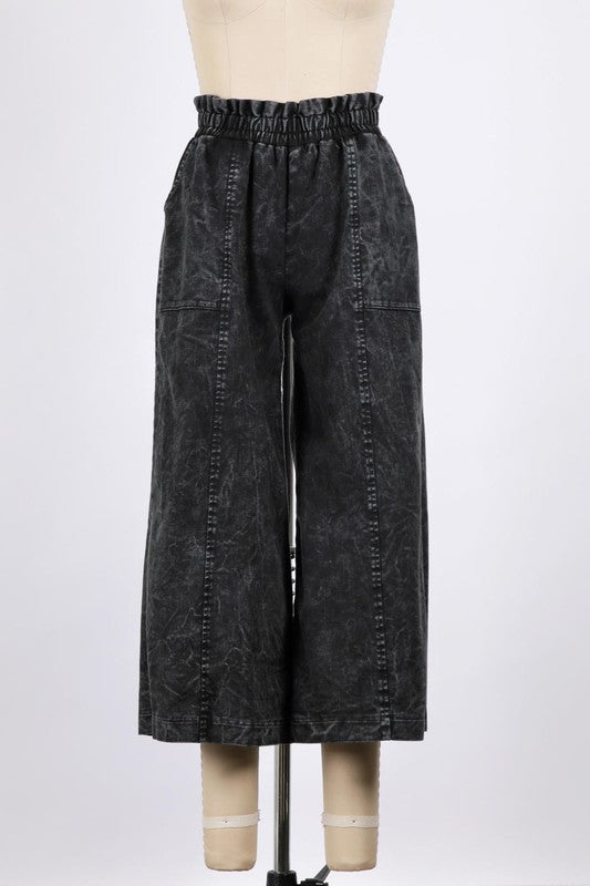 Washed Cropped Wide Denim Trousers