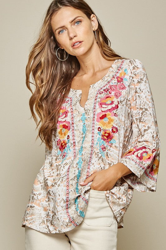 Embroidered Top with Bell Sleeves