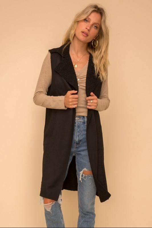Faux Fur Lined Suede Vest