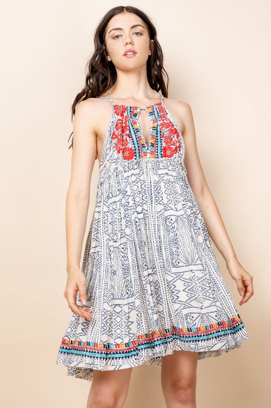 Printed Embroidered Dress