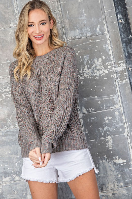 Marled Color Pullover Sweater