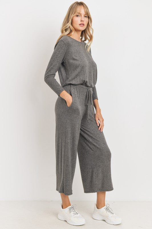 Charcoal Cropped Jumpsuit