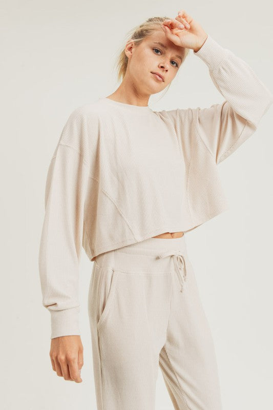 Ribbed Cropped Pullover