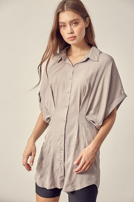 Washed Fitted Button Up Shirt