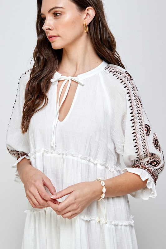 Embroidered Mid Sleeve Dress